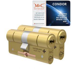 M&C Condor SKG3 messing - 2 cilinders met 5 sleutels