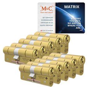 M&C Matrix SKG3 messing - 10 cilinders met 8 sleutels