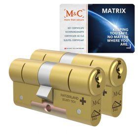 M&C Matrix SKG3 messing - 2 cilinders met 5 sleutels