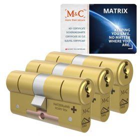 M&C Matrix SKG3 messing - 3 cilinders met 5 sleutels