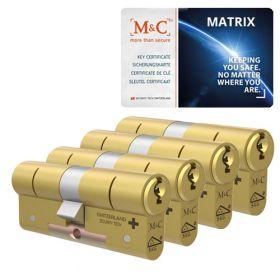 M&C Matrix SKG3 messing - 4 cilinders met 7 sleutels