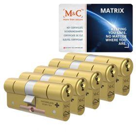 M&C Matrix SKG3 messing - 5 cilinders met 7 sleutels
