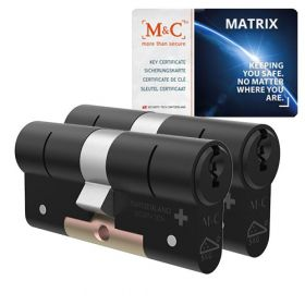 M&C Matrix SKG3 zwart - 2 cilinders met 5 sleutels