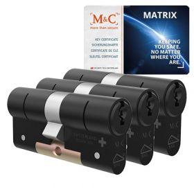 M&C Matrix SKG3 zwart - 3 cilinders met 5 sleutels