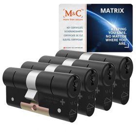 M&C Matrix SKG3 zwart - 4 cilinders met 7 sleutels