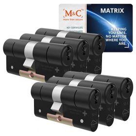 M&C Matrix SKG3 zwart - 6 cilinders met 8 sleutels