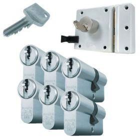 Mauer oplegslot wit + 6x Mauer F3 cilinder