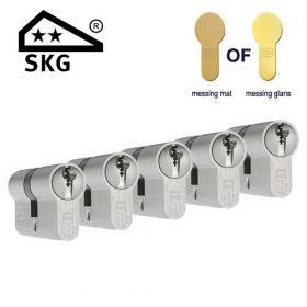 DOM Plura SKG2 messing - 5 cilinders met 15 sleutels