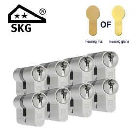 DOM Plura SKG2 messing - 8 cilinders met 24 sleutels