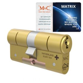 M&C Matrix SKG3 messing - 1 cilinder met 3 sleutels
