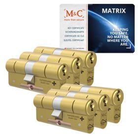 M&C Matrix SKG3 messing - 6 cilinders met 8 sleutels