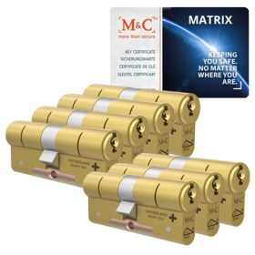 M&C Matrix SKG3 messing - 7 cilinders met 8 sleutels