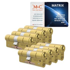 M&C Matrix SKG3 messing - 8 cilinders met 8 sleutels