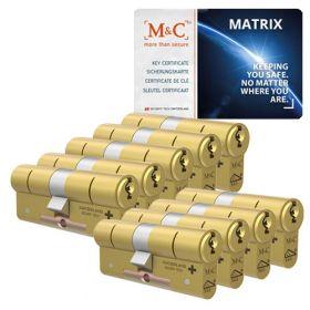 M&C Matrix SKG3 messing - 9 cilinders met 8 sleutels