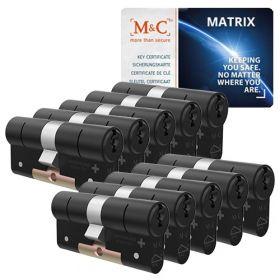 M&C Matrix SKG3 zwart - 10 cilinders met 8 sleutels