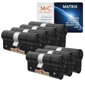 M&C Matrix SKG3 zwart - 7 cilinders met 8 sleutels