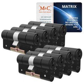 M&C Matrix SKG3 zwart - 8 cilinders met 8 sleutels