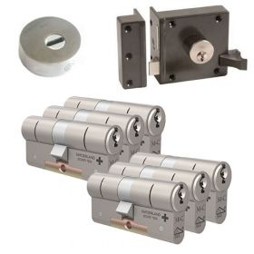 M&C oplegslot bruin met Kerntrekrozet + 6x M&C Matrix cilinder